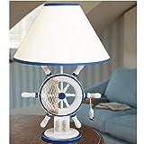 Moderne Nachttischleuchte Handgefertigte Mediterrane Holzruder Stoff Nachttischlampe Lenkrad Nachttischlampe Kindernachtlicht Für Schlafzimmer Wohnzimmer E27 Blau Und Weiß