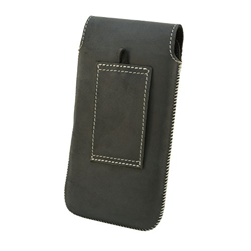 Orline Handy Tasche Echt Leder Apple Iphone 8 Plus Schutzhülle Gürteltasche Leder Hülle Etui Schalen Case Cover Leder Hülle Handarbeit Schwarz