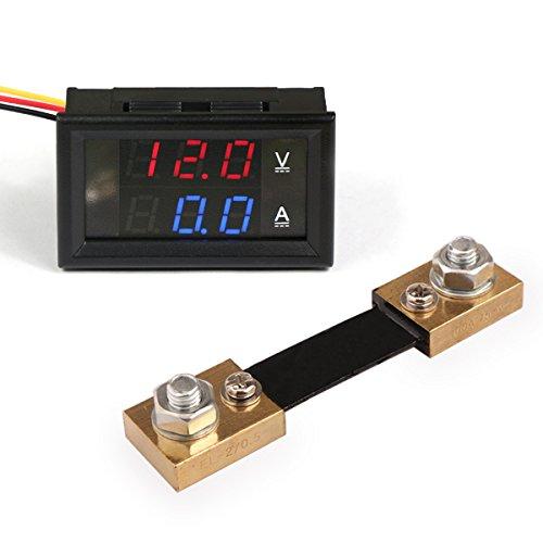 Droking Digital Voltmeter dan Amperemeter Ammeter Strommesser Tester DC 12V/24V 100A Volt Amp Detector Ampere Voltage Gauge Combo AV Panelmeter Dual LDE Display mit Shunt Panel Meter for Autobatterie Auto Car (+ Shunt) (Amp 0 Gauge)