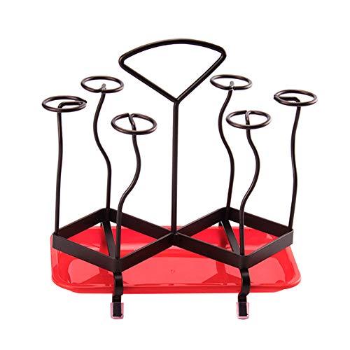 6 Tassen Wäscheständer, Metall Eisen Flasche Tasse Becher Wäscheständer Abtropffläche mit Tablett für die Küche, schwarz