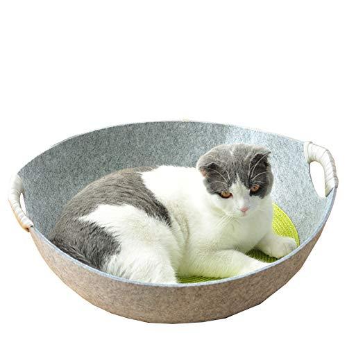 CHEN. Haustierbett-Katzenstreu-Sommerkatzenbett Filz Katze schlafende Katzentopf Haus Vier Jahreszeiten universelle Haustierbedarf,Gray,48 * 45 * 17cm