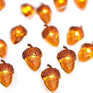 Fall Decor Lights, Lauva Acorn Autumn Thanksgiving Decoration Lights String Battery 10 ft 40 LEDs with Remote Timer for Indoor Covered Outdoor Gardens,Home,Bedroom,Wedding,Christmas (Acorn-Brown)