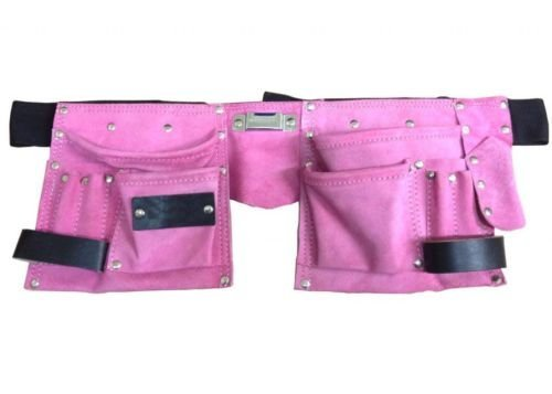 Toolzone-Werkzeuggürtel mit 11 Taschen (auch für Hammer und Klebeband), Leder, Pink (Werkzeuggürtel Rosa)