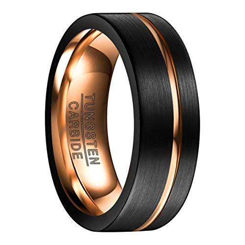 Ring Damen/Herren 8mm breit schwarz+rosegold, Nuncad Fashion Ring für Hochzeit, Verlobung und Alltag, Größe 53