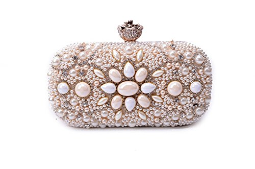 Borsa Delle Signore Di Modo Ricamata Handmade Beads Pearl Catena Della Spalla Del Partito White
