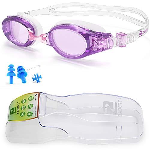 ZABERT Damen Schwimmbrille, W5 Schwimmbrillen für Damen Frauen Erwachsene Kinder Mädchen 8+ Schwimmen Brille Antibeschlag UV Schutz Groß Triathlons Schwimmbrille Lila Rosa Klar Klare Purple Pink