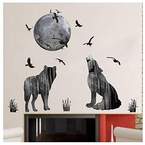 OTXA Adesivo Murale Forest Moon Wolf Adesivi Murali Materiale PVC Uccelli della Foresta Poster da Parete Animale Fai-da-Te per Camerette Decorazione Murale Arte