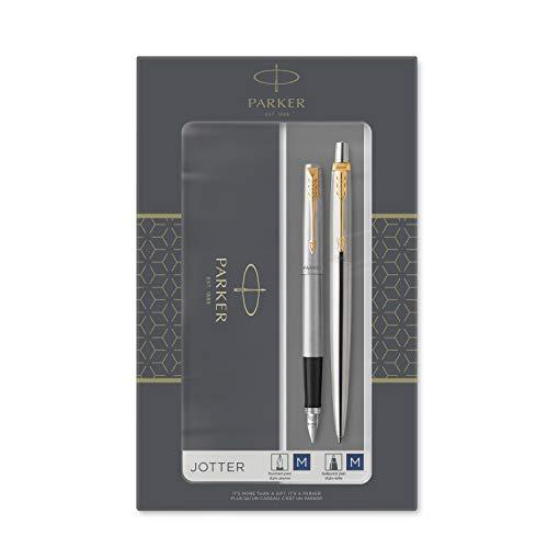 Parker Jotter Duo-Geschenkset mit Kugelschreiber und Füllfederhalter, Edelstahl mit Goldzierteilen, Nachfüllmine und -Patronen mit blauer Tinte, Geschenkbox