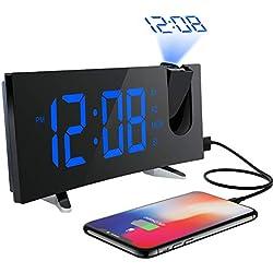 PICTEK Projektionswecker(Deluxe Version),Wecker,Radiowecker/Digital Wecker/Uhrenradio/Großes Display /Dimmer/Dual-Alarm/Snooze/Timer(12/24-Stunden,USB-Anschluss,120°-Projektor,180°Flip-Anzeige)
