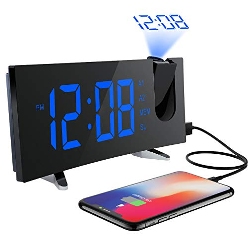 Projektionswecker, (Deluxe Version) PICTEK Wecker, Radiowecker/Digital Wecker/Uhrenradio/Tischuhr/Großes LED-Display /Randlos Kurve/Dimmer/Dual-Alarm/Snooze/Timer (12/24-Stunden,USB-Anschluss,120°Dreh-Projektor,180°Flip-Anzeige)