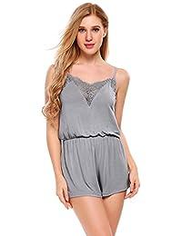 EKOUAER Damen Schafanzug Lässige Tiefer V-Ausschnitt Pyjama Lace Trimmed Shorts Overall Nachtwäsche