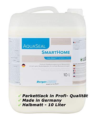 Berger-Seidle Profi Parkettlack | Aqua Seal Smarthome | 10 L, 1K Wasserlack Parkett | Holzboden, halbmatt | umweltschonend | Fussbodenlack auf Wasserbasis, Made in Germany