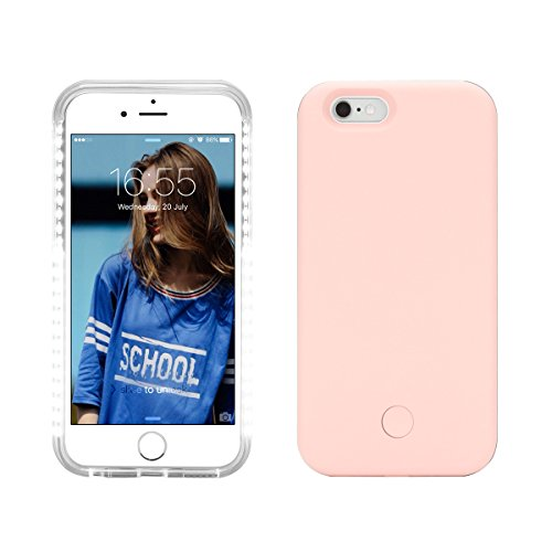 Coque Lumineuse Selfie LED pour iPhone 6 / 6s, Bearshifu 5 Eclairage Modes Flash Téléphone Étui (Rose)