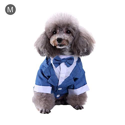 Hunde Kostüm Butler - Bulary Stilvolle Anzug Fliege Kostüm, Hundeanzug Hund Shirt Puppy Pet Kleine Hundebekleidung, Hochzeit Hemd Formal Smoking mit Krawatte