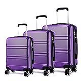"Kono Lightweight ABS Suitcase 4 Spinner Wheels Trolley Case 3pcs Luggage Set 20"""