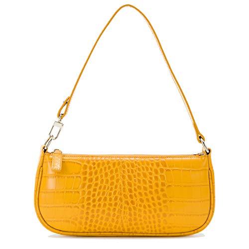 sunrise lucky bag Damen Schultertasche Krokodilmuster Leder Baguette Unterarm-Paket, Gelb (gelb), Small