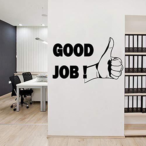 wlwhaoo Daumen hoch Gute Arbeit Büro Motivation Inspiration Satz Wandtattoo Aufkleber Abnehmbare Wanddekoration Aufkleber Wandbilder Gym grau 85X56 cm