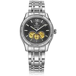 binlun Male Japanisches Miyota Automatik Mechanische Armbanduhr mit schwarz Skelett Zifferblatt Edelstahl