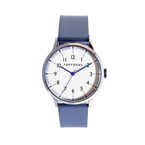 tokyobay-t339-bl-hombres-de-acero-inoxidable-azul-correa-de-cuero-esfera-blanca-reloj-inteligente