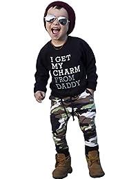Conjuntos lindo Bebe Niños,Sonnena Niños pequeños niño niña carta camiseta Tops + camuflaje pantalones Trajes conjunto de ropa de dos piezas