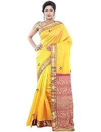 b42c1263131 RB Sarees Women s Silk O-Para Aanchal Border Embroidery Saree (Golden