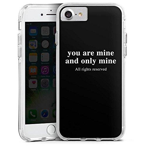 Apple iPhone 7 Plus Bumper Hülle Bumper Case Glitzer Hülle Rights Reserved Love Liebe Bumper Case transparent