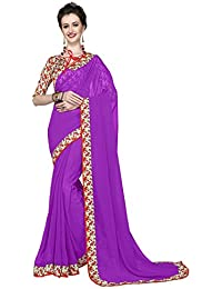 Women's Ethnic Clothing Purple Georgette Printed Lace Border Work Sarees For Women Party Wear Offer Latest Designer...