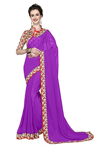 Women's Ethnic Clothing Purple Georgette Printed Lace Border Work Sarees For Women...