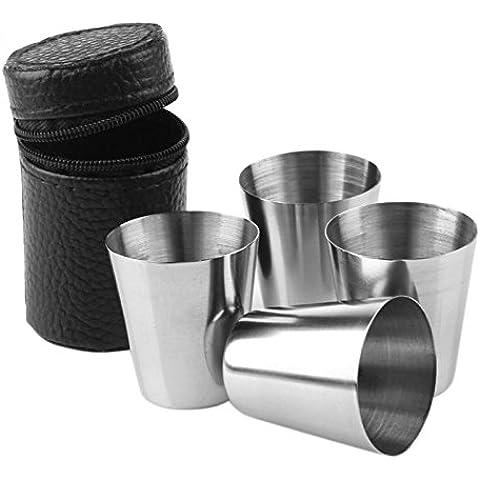 Wuiyepo 4 piezas de acero inoxidable recorrido que acampa Vaso Taza Taza de café de consumición de la cerveza con la cubierta
