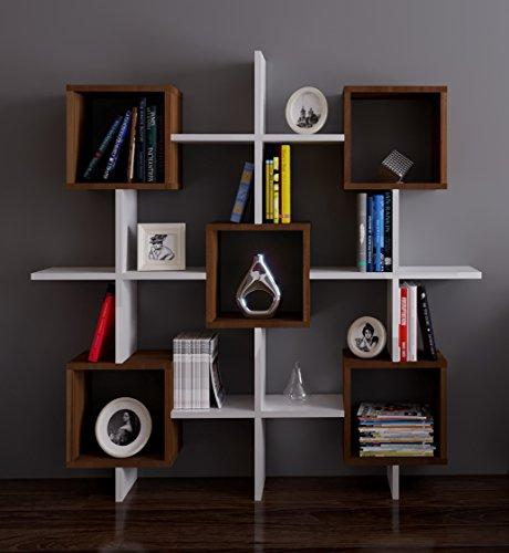 Homidea Royal Bücherregal - Standregal - Büroregal - Wandregal für Wohnzimmer/Büro in Modernem Design (Weiß/Nussbaum)