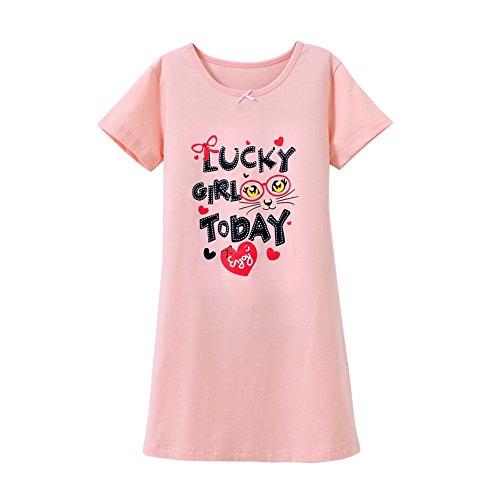 HOYMN Little Girls' Princess Nightie Bowknot Sleep Shirts Cotton Sleepwear Pink