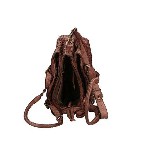 CTM Femme Sac à bandoulière Tressé Vintage Style avec de grandes poignées et bandoulière en cuir véritable Fabriqué en Italie - 35x25x15 Cm Boue