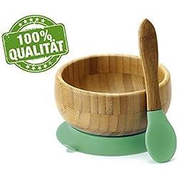 Bebé Cuenco Bambú con ventosa y cuchara - Green