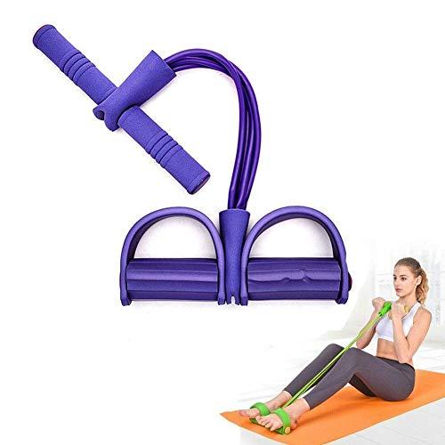 DZANS Premium 2019 Multifunktions Spannseil Fitness Pedal Trainingsseil Zugbänder, 4 Tube Leg Exerciser Pull Rope, Fitness Bauchtrainer Bodybuilding Expander Pedal Widerstand Band (Lila)