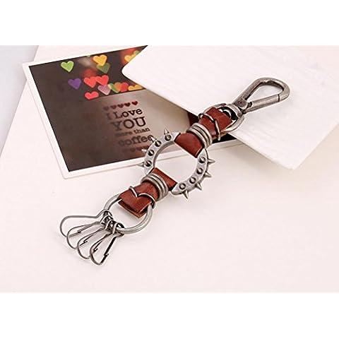ZPL Moda retro cuero llaveros colgantes de llave (negro, marrón) , brown
