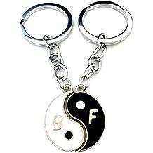 Set 2 llavero colgante medalla Tao Ying y Yang Broken A Meta 'con la inscripción - B - y - F - = - mejores amigos - Idea del regalo para la mujer del hombre