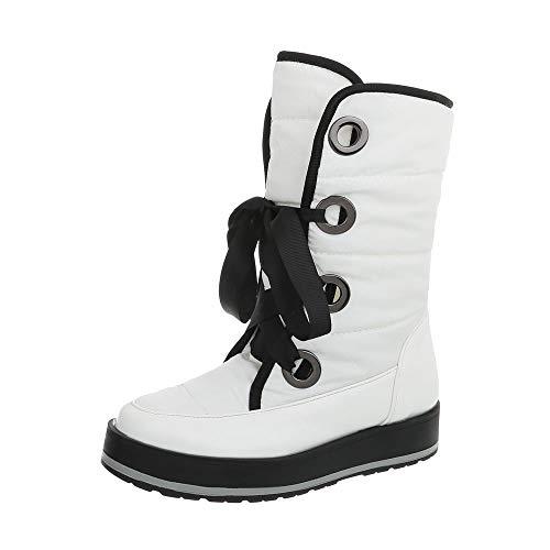 Ital-Design Damenschuhe Stiefeletten Snowboots Synthetik Weiß Gr. 36