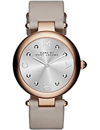 Marc Jacobs MJ1408 - Reloj con correa de cuero, para mujer, color plateado