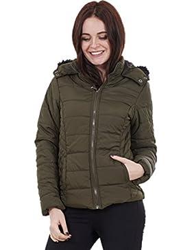 Ladies ultraligero chaqueta para mujer caqui perchero de pared de piel verde con capucha de piel