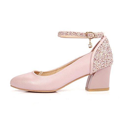 VogueZone009 Damen Blend-Materialien Rein Schnalle Mittler Absatz Pumps Schuhe Pink
