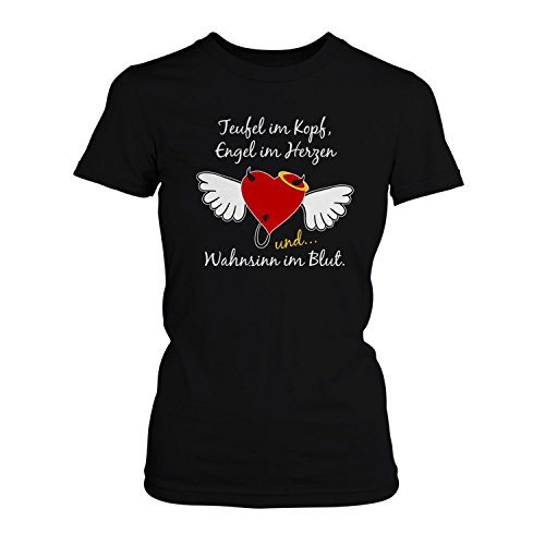 Teufel Engel Wahnsinn - Damen T-Shirt von Fashionalarm | Spaß & Fun Shirt mit Spruch | Ideal als Geburtstag Geschenk Idee für Frauen Herz mit Flügeln Heiligenschein Lustig Verrückt, (Und Engel Teufel Flügel)