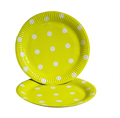 PrettyurParty Polka Dots Paper Plates (Pack of 10) - Yellow