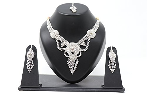 Inglis Lady Excellent Traditional Immitation jewellery Gold American Diamond Plated Golden Brass Earrings Drop Earring Imitation Stone Mangalsutra Necklace Set Black Bead Chain For Women