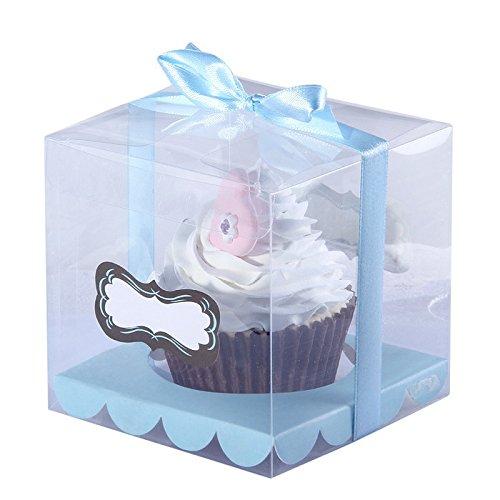 Sruix 24pcs 9 * 9 * 9 PVC Transparent Cupcake Box Klar Kuchen Box Mit Aufkleber Und Einfügen Hochzeit Cupcake Box Mulit Farben (Blau)