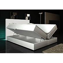 Boxspringbett Weiß Lift 180x200 inkl. 2 Bettkasten Hotelbett Bett LED Rio Lift