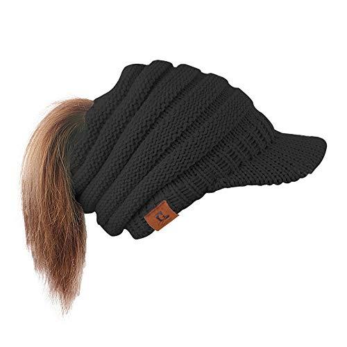 Wossei Damen Mütze mit Loch für Pferdeschwanz Winter Strickmützen Damen mit Schild Gestrickt Visoren Hut Beanie