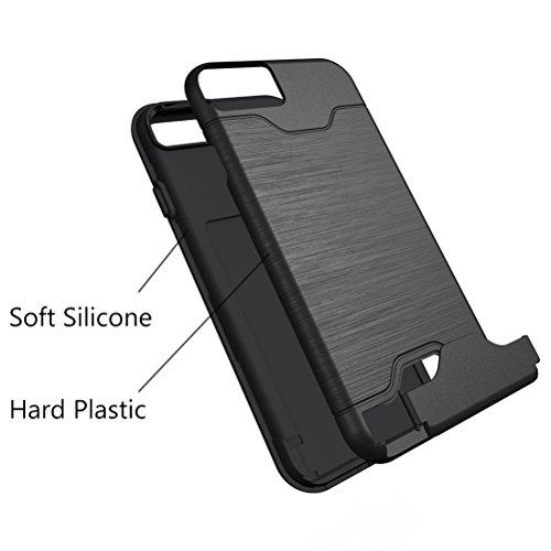 iPhone 7 Schutzhülle, Bestsky iPhone 7 Hülle mit Ständer Halterung Kartenfach Shockproof Armor Case Kickstand Silikon Hart Plastik stoßfest Handy Tasche für Apple iPhone 7, Grün Black