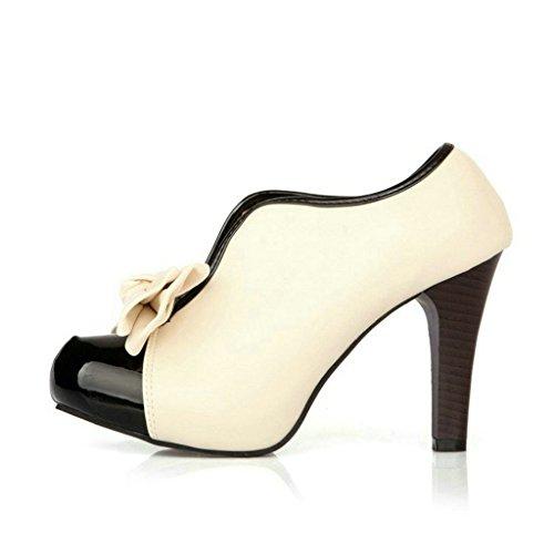 Damen Pumps High Heels Ankle Boots- LATH.PIN Brautschuhe Stilettosabsatz Party mit Schleife Klassisch Vintage Schuhe(39,Beige) -