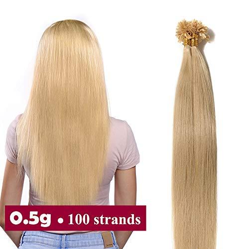 Extension capelli veri cheratina 100 ciocche 50g #24 biondo naturale - 50cm u tip hair extensions bionde 0.5g/ciocca 100% remy human hair naturali