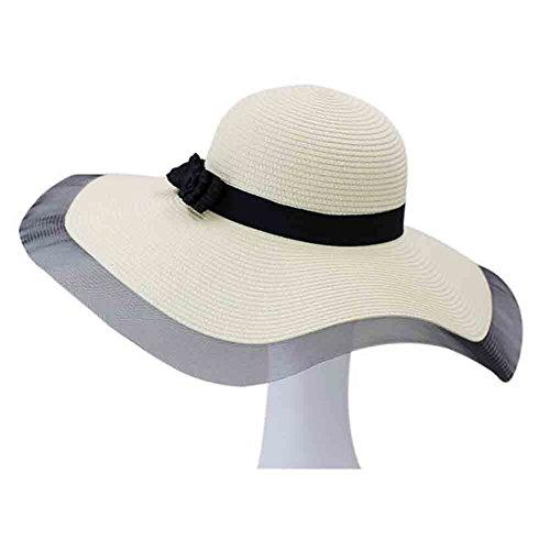 Honey Strohhut Sun Hat Frauen Sonnencreme Visier Hut Big Brim Bow-Knoten Dekoration (Farbe : Milky White) Roll-brim Straw